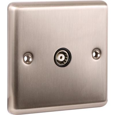 TV & Satellite Outlets - Windsor Brushed Steel