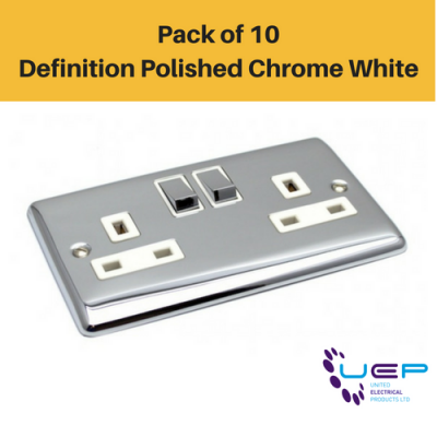 Pack of 10 - Definition Polished Chrome White Double Gang Sockets