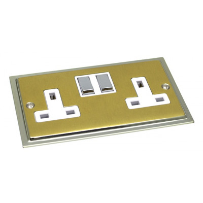 Plug Sockets - Ultra Slim Polished Chrome and Satin Brass