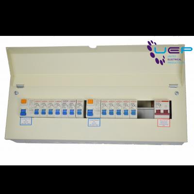 Harok - Amendment 3 Metal Consumer Unit 21 Way - 14 Usable C/w 100a Mainswitch, 80a RCD & 12 MCBs - VUEP908