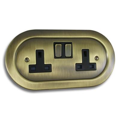 Plug Sockets - Empire Round Antique Brass