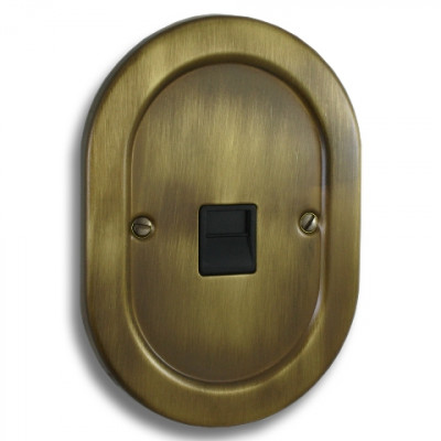 Telephone Outlets - Empire Round Antique Brass