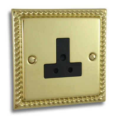 Un-Switched Sockets - Georgian Polished Brass