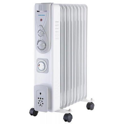 2kW 9 Fin Oil Filled Radiator with Timer, White