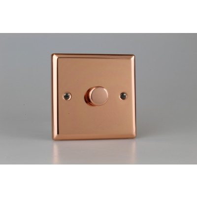 Varilight Copper 1-Gang 2-Way Push-On/Off Rotary Dimmer 1 x 40-400W