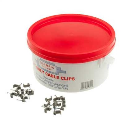Flat Grey Cable Clips 1.5mm / 2.5mm - Trade Tub