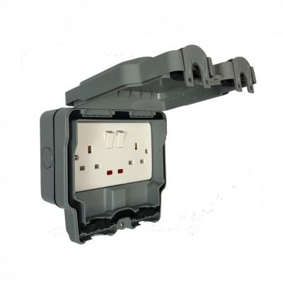 Weatherproof Outdoor 13a DP Double Socket IP66 - SFG07