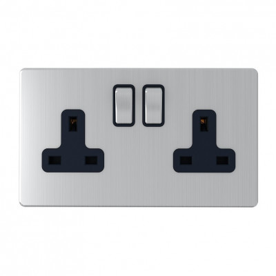 Plug Sockets - Screwless Brushed Chrome