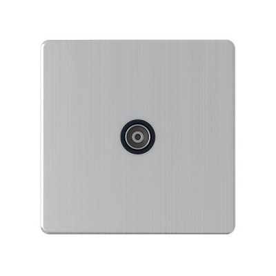 TV & Satellite Outlets - Screwless Brushed Chrome