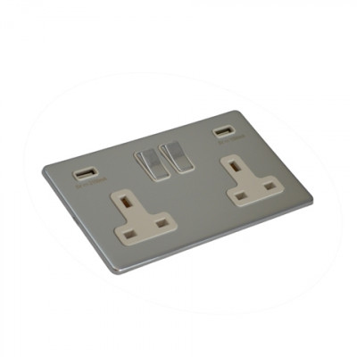 Plug Sockets - Screwless Polished Chrome
