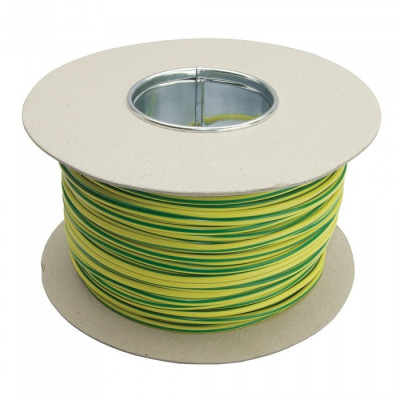 3mm PVC Cable Sleeving - Green / Yellow (Earth) - 100M Drum