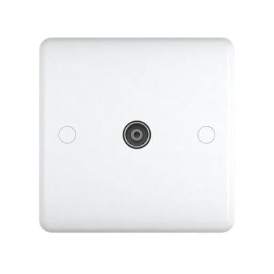 TV & Satellite Outlets - Studio White Plastic