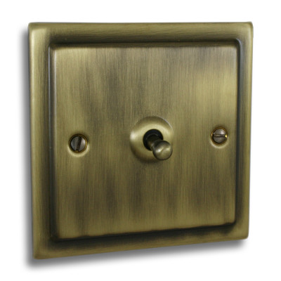 Victorian Toggle Switches Antique Brass