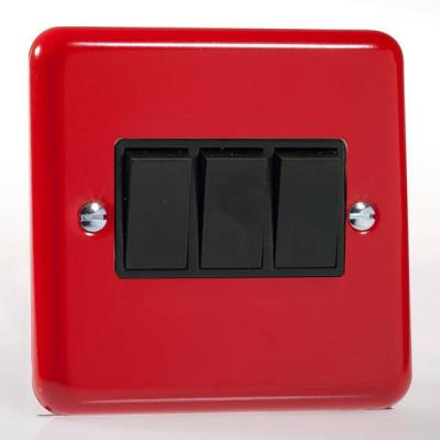 Varilight 3 Gang 10a Light Switch - Pillar Box Red XY3B.PR