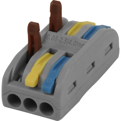 VUEP139 - 3 In 3 Out 32a Spring Lever Connectors (Pack of 25)