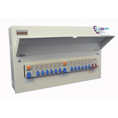 Harok - Amendment 3 Metal Consumer Unit 12 Way (6+6) C/w 100a Mainswitch, 80a RCD & 12 MCBs - VUEP900