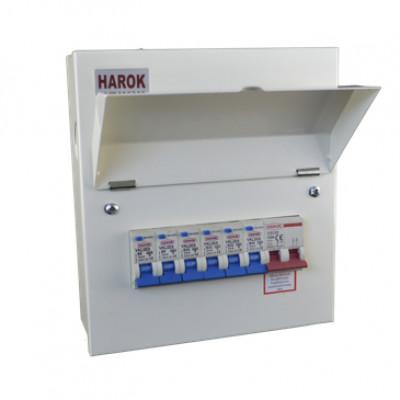 Harok - Amendment 3 Consumer Unit 6 Way C/w 100a Main Switch & 6 RCBOs - VUEP903