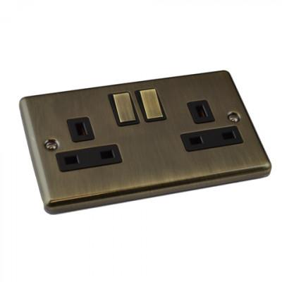 Plug Sockets - Windsor Antique Brass