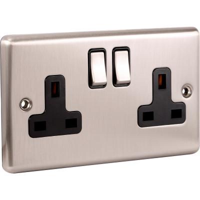 Plug Sockets - Windsor Brushed Steel