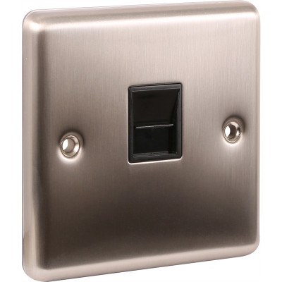 Telephone & RJ45 Outlets - Windsor Brushed Steel