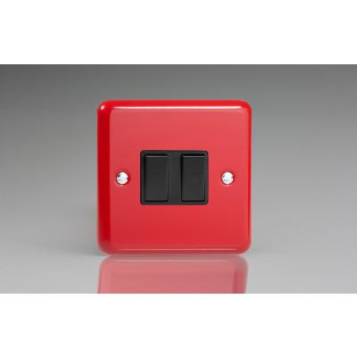 Varilight 2 Gang 10a Light Switch - Pillar Box Red XY2B.PR