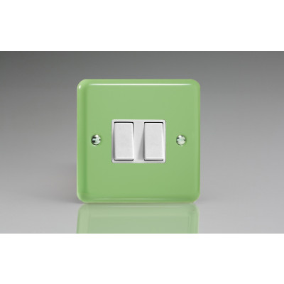 Varilight 2 Gang 10a Light Switch - Beryl Green XY2W.BG
