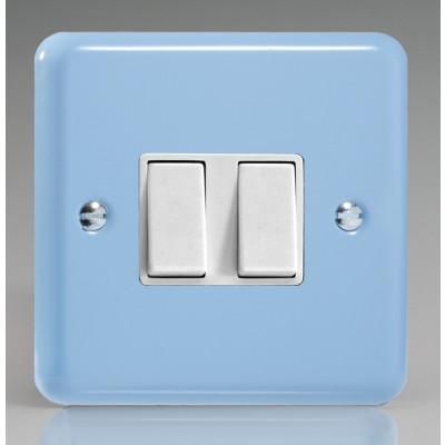 Varilight 2 Gang 10a Light Switch - Duck Egg Blue XY2W.DB