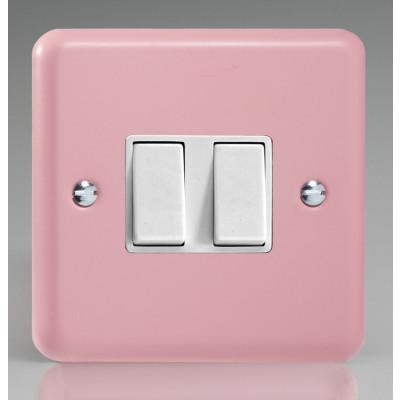 Varilight 2 Gang 10a Light Switch - Rose Pink XY2W.RP