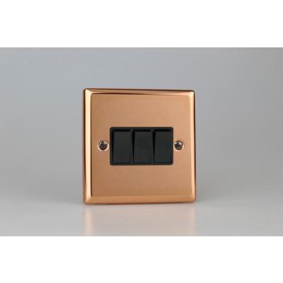 Varilight Copper 3-Gang 10A 1- or 2-Way Rocker Switch