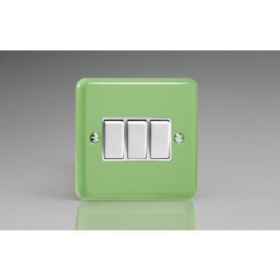 Varilight 3 Gang 10a Light Switch - Beryl Green XY3W.BG