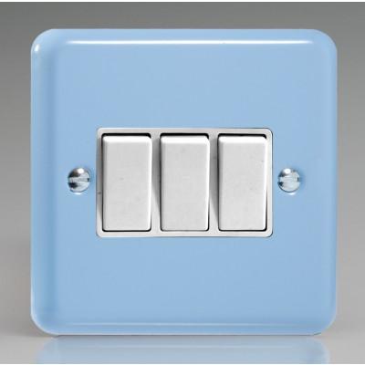 Varilight 3 Gang 10a Light Switch - Duck Egg Blue XY3W.DB