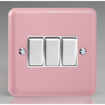 Varilight 3 Gang 10a Light Switch - Rose Pink XY3W.RP