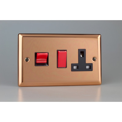 Varilight Copper 45A Cooker Panel with 13A Double Pole Switched Socket Outlet (Red Rocker)