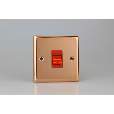Varilight Copper 45A Cooker Switch (Single Plate, Red Rocker)