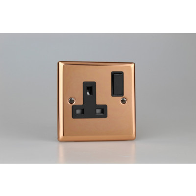 Varilight Copper 1-Gang 13A Double Pole Switched Socket