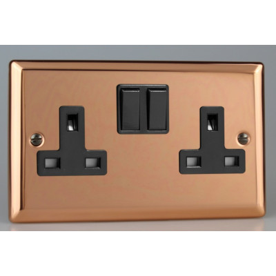 Varilight Copper 2-Gang 13A Double Pole Switched Socket