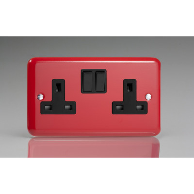 Varilight 2 Gang 13a Socket - Pillar Box Red XY5B.PR