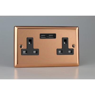 Varilight Copper 2-Gang 13A Unswitched Socket + 2x5V DC 2100mA USB Charging Ports