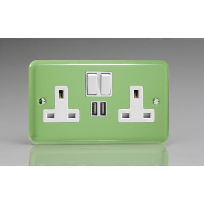 Varilight 2 Gang USB 13a Socket - Beryl Green XY5U2W.BG