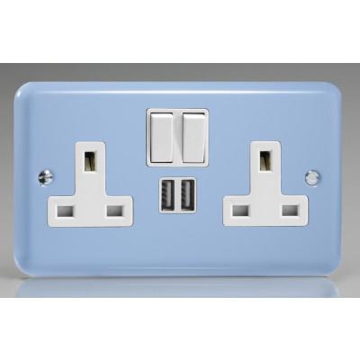 Varilight 2 Gang USB 13a Socket - Duck Egg Blue XY5U2W.DB