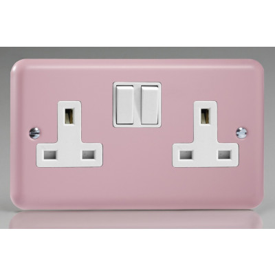 Varilight 2 Gang 13a Socket - Rose Pink XY5W.RP