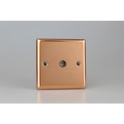 Varilight Copper 1-Gang TV Socket, Co-Axial