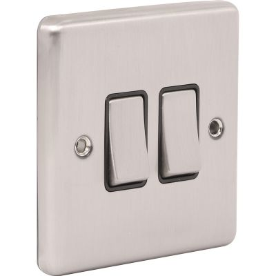 2 Gang Double 10A Light Switch W02BSB