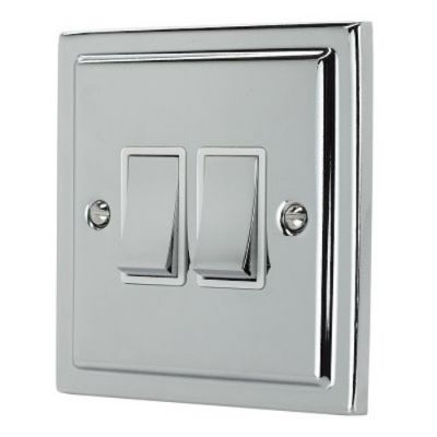 2 Gang Double 10a Light Switch R02PCW