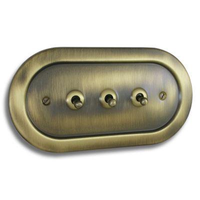 Empire 3 Gang Toggle Switch Antique Brass EM18AN
