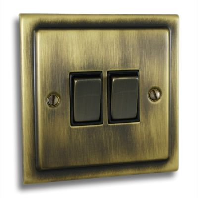 Victorian-2-Gang-Double-10a-Light-Switch-Antique-Brass
