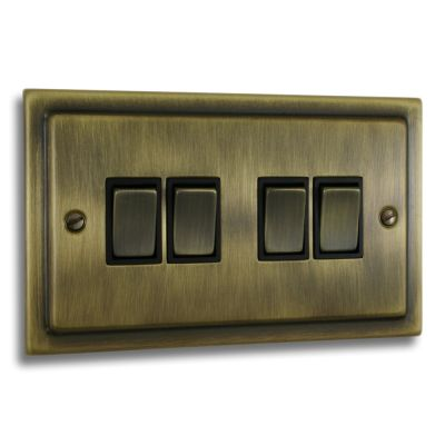 Victorian-4-Gang-Quad-10a-Light-Switch-Antique-Brass