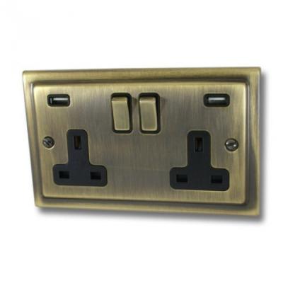 Double USB 2 Gang 13a Socket - V65AN