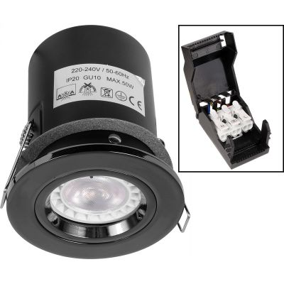 Black Nickel Fixed Fire Rated Downlights with Push Connection