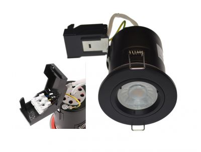 Matt Black Fixed Fire Rated Downlights with Push Connection